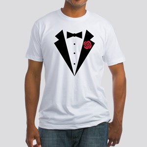 Funny Tuxedo [red rose] Fitted T-Shirt